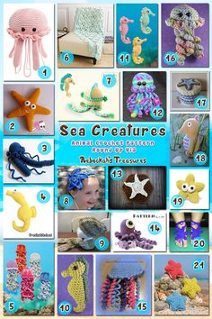 Roundup: 21 #crochet patterns for sea creatures, curated by Rebeckah's Treasures