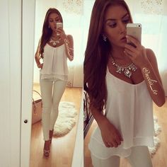 Spring Outfit - All white with nude heels