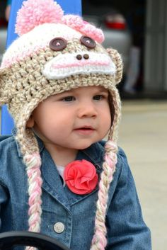 Toddler monkey hat for a little girl