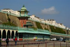 The tower behind houses a Victorian lift from the Lower Esplanade up to Marine Drive Brighton Sussex, Brighton And Hove, Victorian Buildings, Uk Music, Concorde, East Coast, Cool Places To Visit, Countryside, The Good Place