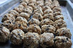 Homemade Energy Bites  2 cups oatmeal  1 cup peanut butter or other nut butter  2/3 cup honey  2 cup coconut flakes, wheat germ, sesame seeds, or a mixture of all three (can also substitute oatmeal or protein powder, if you prefer)  1 cup ground flaxseed  1 cup mini chocolate chips  2 teaspoons vanilla