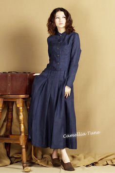 long coat dress maxi trenchcoat in blue linen coat by camelliatune