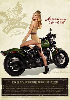 Motorcycle Girl Photo: Victoria's Secret Model Marisa Miller Dressed in US Army Uniform on a Harley-Davidson Motorcycle Classic, pin-ups for troop morale. Harley Davidson Vintage, Harley Davidson Motorcycles, Harley Bikes, Marisa Miller, Hot Rods, Old School Style, Motos Vintage, Rockabilly, Estilo Pin Up
