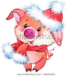 New Ideas funny cute illustration draw Illustration Mignonne, Pig Illustration, Christmas Illustration, Watercolor Illustration, Illustration Pictures, Funny Christmas Cards, Christmas Humor, Funny Drawings, Cartoon Drawings
