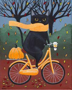 Fat Black Cat on a Bicycle with Coffee Original Halloween Cat Folk Art Painting - Zeichnungen - Katzen / Cat I Love Cats, Crazy Cats, Cute Cats, Halloween Painting, Halloween Cat, Happy Halloween, Illustrations, Illustration Art, Black Cat Art