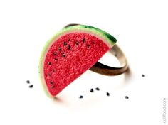 Watermelon Ring  Food Jewelry by dollfoodminiatures on Etsy, $20.00