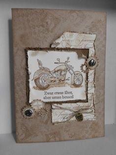 Diese Karte ist ideal für einen Motorrad-Fan. Auf Wunsch auch personalisierbar.    Jede Karte wird mit einem passenden Umschlag in einer Schutzhülle g
