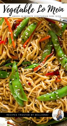 Lo Mein with Vegetables, under 20 minutes to dinner table as a perfect side dish or vegetarian main dish meal for dinner for two main dishes Cheap Vegetarian Meals, High Protein Vegetarian Recipes, Quick Vegetarian Meals, Vegetarian Breakfast Recipes, Vegetarian Main Dishes, Healthy Recipes, Vegetarian Lo Mein, Simple Recipes, Vegetarian Food