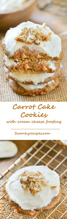 Carrot Cake Cookies with Cream Cheese Frosting - Love making these for spring holidays!