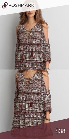 AEO Lace Up Dress NWOT NWOT AEO long sleeve lace up dress, never been worn, size M , excellent condition! American Eagle Outfitters Dresses