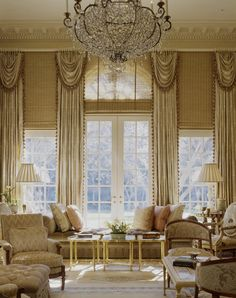 For a formal and dressy look, drapes are your best bet to highlight a long, gorgeous window.