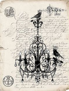 VINTAGE STYLE BIRD CHANDELIER SILHOUETTE ART PRINT. The Decorated House