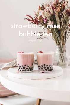 dairy drinks, dairy drinks recipes A caffeine free, strawberry rose take on classic bubble tea, made vegan and dairy free. Milk Tea Recipes, Coffee Recipes, Drink Recipes, Fun Drinks, Yummy Drinks, Beverages, Boba Recipe, Strawberry Roses, Strawberry Bubble Tea Recipe