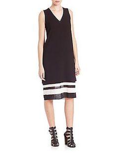 Vince Two-toned Trapeze Dress - Black - Size