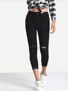 Mulher Estilosa: Calça Jeans na Loja Internacional Shein.com