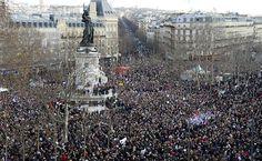 Público lota praça da República em Paris para participar de marcha contra o terrorismo. Ao todo 3,7 milhões de pessoas foram às ruas da França.   Foto: Bertrand Guay - 11.jan.2015/AFP