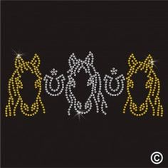 Three Horses Rhinestone Diamante Transfer Iron On Hotfix Gem T Shirt Motif Patch