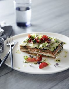 Raw Zucchini Lasagna with Pesto, Olives and Tomato