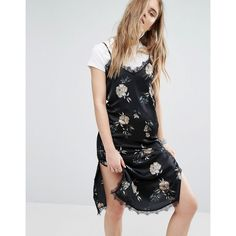 Pull&Bear Floral Midi Cami Dress ($40) ❤ liked on Polyvore featuring dresses, black, v neck dress, floral day dress, v neck midi dress, floral cami dress and cami midi dress