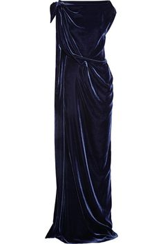 Roland Mouret Midnight-Blue Velvet Gown in a Column Silhouette. You don't often see a Goddess-Style Gown in Velvet. This one is Spectacular with a Single Shoulder Tie, Draping throughout and a Dramatic Side Slit. Yes, my Dears, this is where we bust out the Big Diamonds - a Big Pendant, Big Earrings. Two Big Rings and a Pave Bracelet. Your shoes are Silver Pumps and bag is a Silver Minaudière (It's all on this board). A Goddess in Winter? Oh My Yes! - Gabrielle