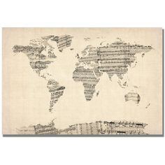 Old Sheet Music World Map Canvas Wall Art ($135) ❤ liked on Polyvore featuring home, home decor, wall art, map home decor, canvas wall art, map wall art, sheet music wall art and canvas home decor