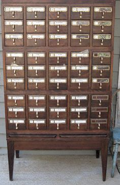 Vintage Library Card Catalog - I try really hard to be happy with what I have, but I really, really want one of these!