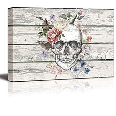 wall26  Canvas Prints Wall Art  SkullSkeleton with Flowers on Vintage Wood Background Rustic Home Decoration  12 x 18 * Click image for more details.