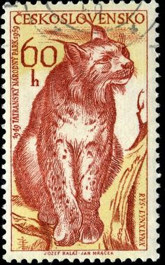 """""""Lynx, designed by Slovak painter and graphic designer Jozef Balaz (1923-2006), engraved and photogravure, and issued on September 25, 1959..."""