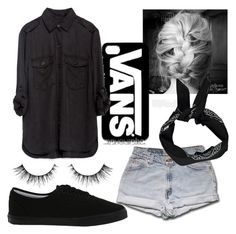 """How to wear black"" by gabriela-27-99-11 ❤ liked on Polyvore featuring Vans, Zara and Boohoo"