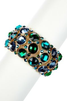 Olivia Welles Gold, Blue & Green Triple Row Small Stone Stretch Bracelet  $14.00 (81% off)