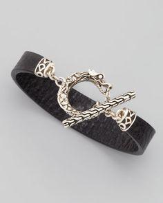 Naga Toggle Leather Bracelet, Black by John Hardy at Neiman Marcus.