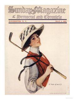 Golf Tips For Women Giclee Print: Sunday Magazine, Golf Womens Hats Portraits Magazine, USA, 1910 : Golf Attire, Golf Outfit, Used Golf Clubs, Golf Art, Vintage Golf, Vintage Ladies, Golf Tips For Beginners, Golf Humor, Funny Golf