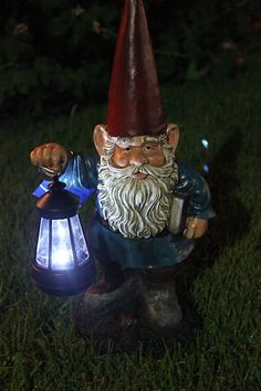 Garden Statue Gnome Gnome with Solar Light Gnome Figurine | eBay