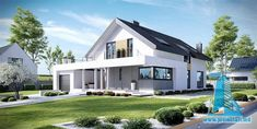 Amazing Villa Design in White Friendly Color 2 Home Building Design, Building A House, Future House, My House, Pintura Exterior, Bungalow Renovation, Modern Mansion, European House, Villa Design
