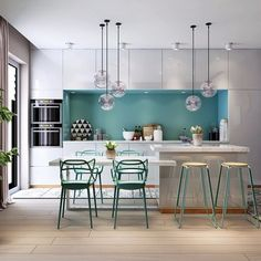 Mint Green Contemporary Dining Room with Kitchen Visualization – DIY World Kitchen Island And Table Combo, Kitchen Sets, Kitchen Layout, Kitchen Dining, Kitchen Decor, Dining Room, Kitchen Flooring, Interior Design Kitchen, Kitchen Remodel