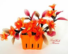 Beautiful red orange color flowers for Home decor, Fall gift. Handcraft nylon fabric flower. Floral arrangement