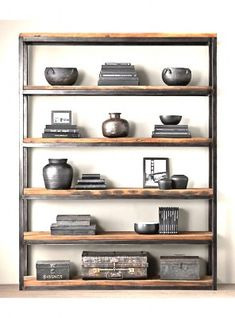 Wrought iron and wood bookcase country kitchen shelves study vintage storag Wood Corner Shelves, Bookcase Shelves, Display Shelves, Rustic Bookcase, Timber Shelves, Bookshelf Design, Wide Bookcase, Metal Bookcase, Industrial Bookshelf