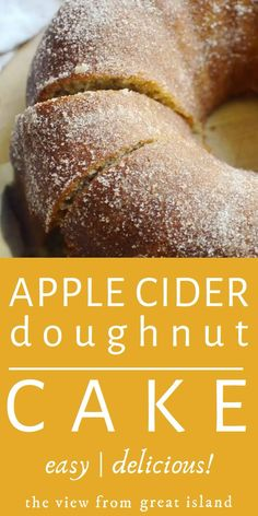 Fall Cake Recipes, Apple Cake Recipes, Donut Recipes, Easy Apple Cake, Apple Cider Donut Cake Recipe, Apple Cider Donuts, Applesauce Bundt Cake Recipe, Apple Cider Uses, Best Pound Cake Recipe