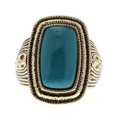 Gold Ring With Turquoise Gemstone available at http://www.divabelle.com $8.00