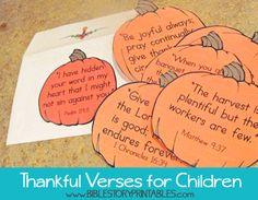 Thankful Bible Verses for Children shaped like pumpkins. Too cute!