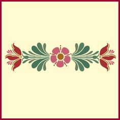 Rosemaling Pattern 12 is a new stencil. It features a beautifully detailed flower design, and is the perfect size for a decorative border. This is a single overlay stencil. Folk Art Flowers, Flower Art, Tole Painting, Fabric Painting, Folk Embroidery, Embroidery Patterns, Bordado Popular, Rosemaling Pattern, Norwegian Rosemaling