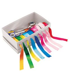 Homemade Ribbon Organizer  --  Take any shoebox and, using a regular hole puncher or a box cutter, make an opening for each ribbon to slide through. Behind the spools, there's room for scissors, tape, and gift tags. Great idea - am using a round curain rod currently for mine, but they unroll everwhere - this is a better idea - consider wrapping the shoe box with pretty scrapbook paper first... jm