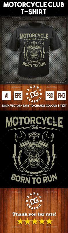 #Motorcycle club #t-shirt design - Grunge #Designs Download here: https://graphicriver.net/item/motorcycle-club-tshirt-design/17425795?ref=alena994