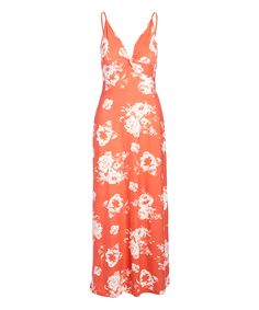 Take a look at this Coral Floral Twist-Front Sleeveless V-Neck Maxi Dress - Juniors on zulily today! Robes Pour Juniors, Junior Dresses, Floral Maxi Dress, Warm Weather, Designer Dresses, That Look, Coral, V Neck, Summer Dresses