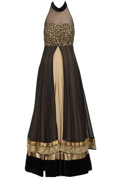 Akshay Wadhwa presents Beige and black double layer embroidered anarkali set available only at Pernia's Pop-Up Shop. Indian Gowns, Indian Attire, Indian Outfits, Indian Look, Indian Ethnic Wear, India Fashion, Ethnic Fashion, Indian Designer Suits, Desi Wear