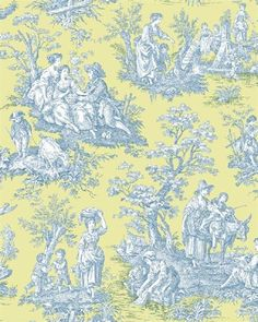 WA7833 | Waverly Classics, Blue and Yellow Country Life Toile Wallpaper | TotalWallcovering.Com
