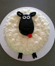 Gemma's 2nd birthday sheep cake - chocolate cake with vanilla buttercream icing and black fondant