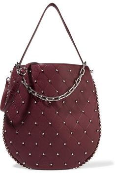 Alexander Wang - Roxy Studded Quilted Textured-leather Shoulder Bag - Burgundy