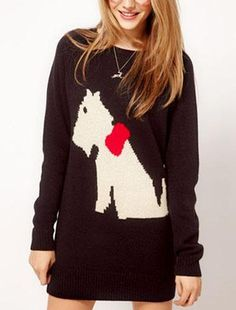 3098701fc15b1 SheIn offers Black Long Sleeve Dog Bow Embroidery Pullovers Sweater   more  to fit your fashionable needs.