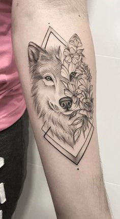 Animal Tattoos For Women, Leg Tattoos Women, Top Tattoos, Couple Tattoos, Body Art Tattoos, Tattoo Women, Tatoos, Wolf Sleeve, Wolf Tattoo Sleeve